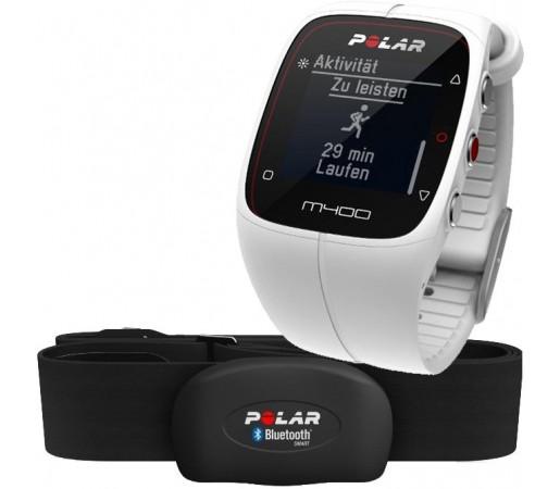 Ceas Polar M400 cu GPS si centura HRM Alb
