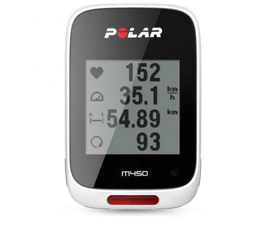 Ciclocomputer Polar M450 cu GPS Alb/Negru