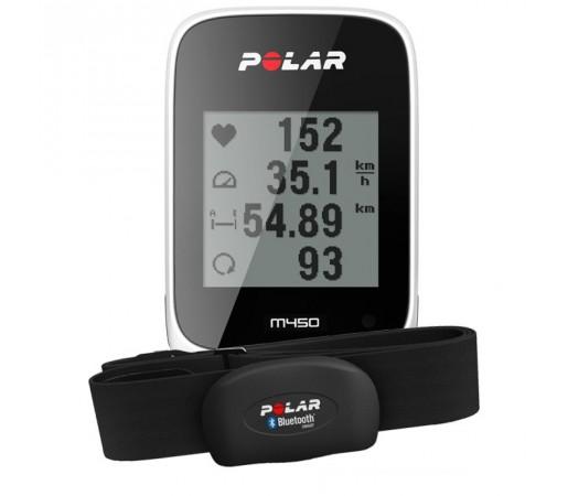 Ciclocomputer Polar M450 cu GPS si centura HRM Alb/Negru