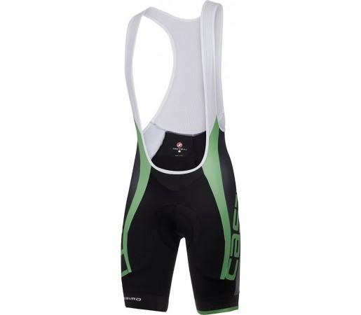 Pantaloni ciclism cu bretele Castelli Velocissimo Due Negru/ Verde