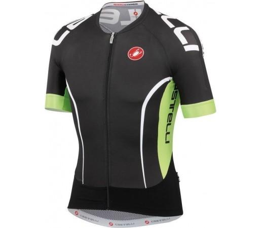 Tricou ciclism Castelli Aero Race 5.0 Negru/Verde/Alb