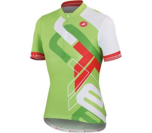 Tricou ciclism copii Castelli Frammenti KID Verde/Alb