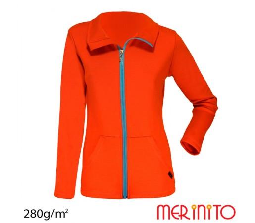 Bluza Full Zip femei Merinito Portocalie