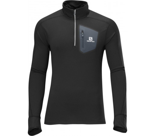 Bluza Salomon Trail Runner Warm Ls Zip Black