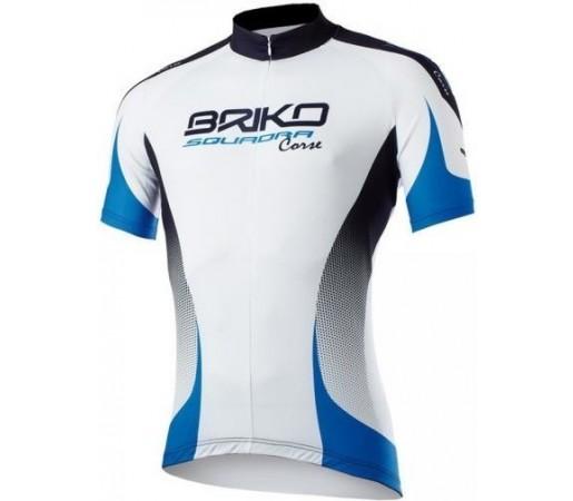 Tricou ciclism Briko Klub Man Alb/ Albastru/ Negru