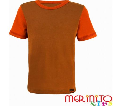 Tricou copii Merinito maneca scurta  Bej/Portocaliu