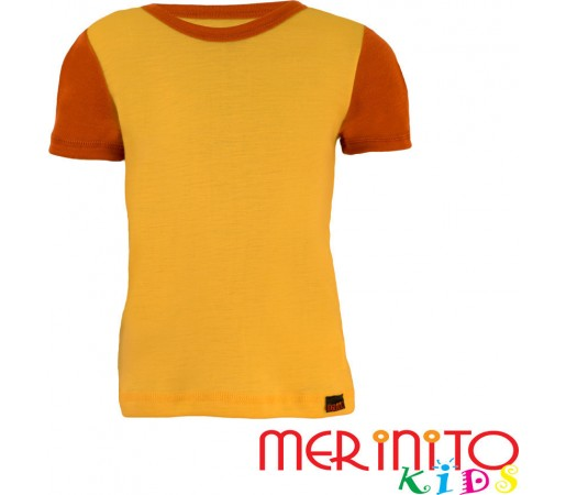 Tricou copii Merinito maneca scurta Galben/Portocaliu