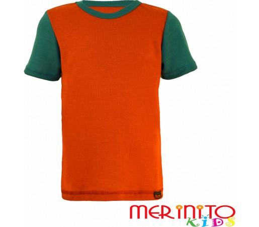 Tricou copii Merinito maneca scurta  Portocaliu/Verde