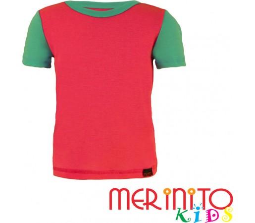 Tricou copii Merinito maneca scurta Roz/Turquoise