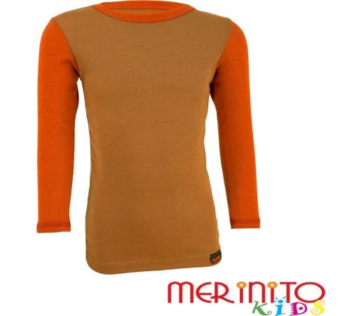 Tricou copii Merinito maneca lunga Bej/Portocaliu