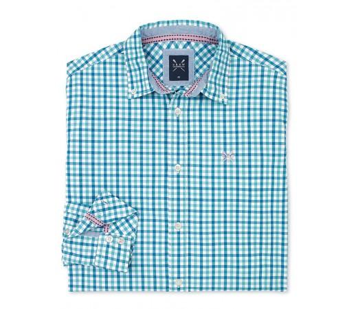 Camasa Crew Clothing Fine Pinpoint Check Albastru/Verde