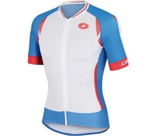 Tricou ciclism Castelli Climbers Alb/ Albastru/ Rosu