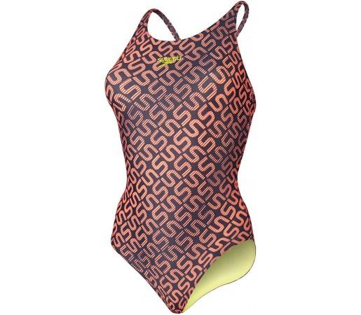 Costum de baie Speedo Woman Monogram Allover Muscleback Bleumarin/Rosu