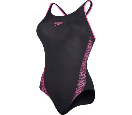 Costum de baie Speedo Woman Monogram Muscleback Negru/Roz