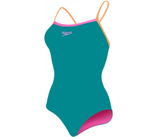 Costum de baie Speedo Woman Thinstrap Muscleback Turcoaz/Portocaliu