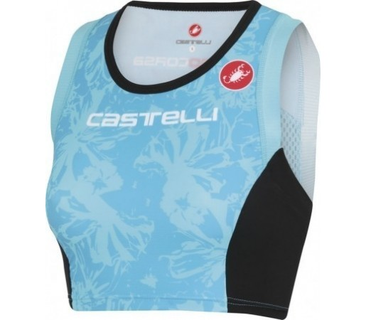 Bustiera triatlon Castelli W Free TRI Top Albastru/ Negru