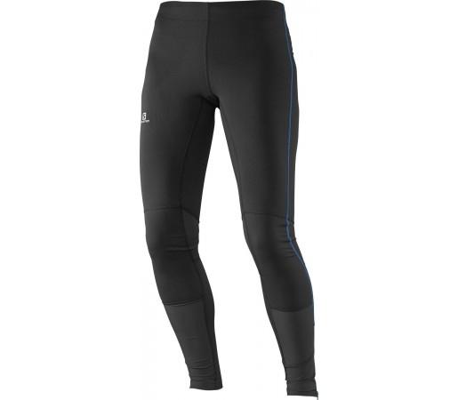 Pantaloni Salomon Agile Long Tight W Black/Methyl Blue Negru