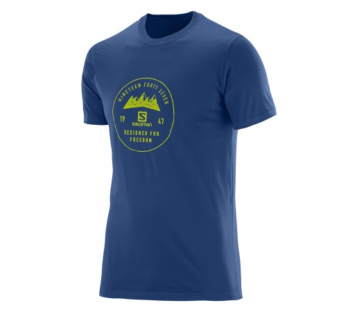 Tricou Salomon Mount Sign SS Cotton Tee M Albastru Inchis