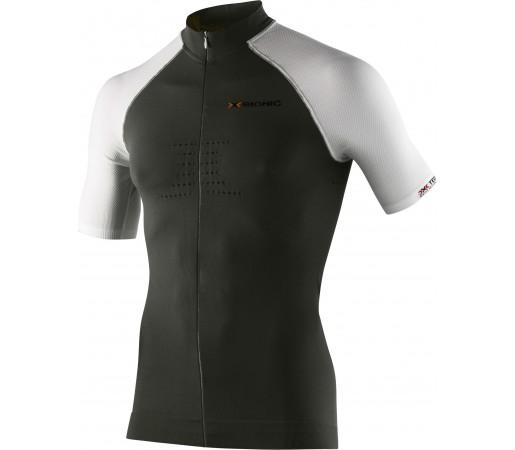 Tricou ciclism X-Bionic Biking Man AE Race OW Shirt SH SL Full Zip Negru/Alb