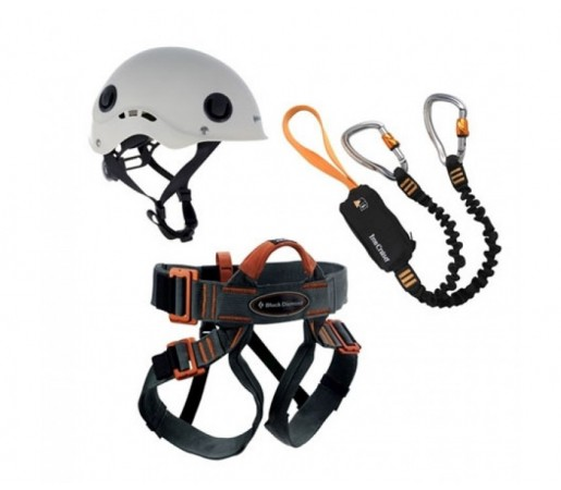 Set via ferrata cu casca Black Diamond Iron Cruiser Negru