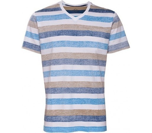 Tricou Fundango V-Neck T Stripe Albastru