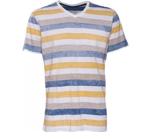 Tricou Fundango V-Neck T Stripe Albastru/Galben
