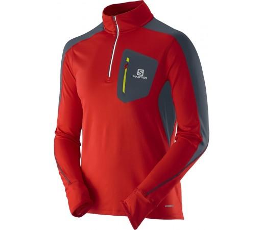 Bluza Salomon Trail Runner Warm LS Zip M Rosu