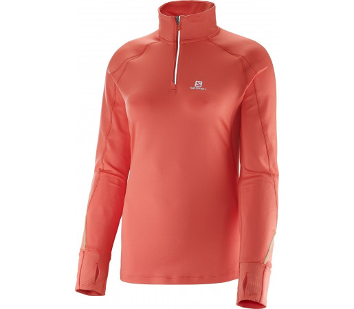 Bluza Salomon Trail Runner Warm LS Zip W Rosu
