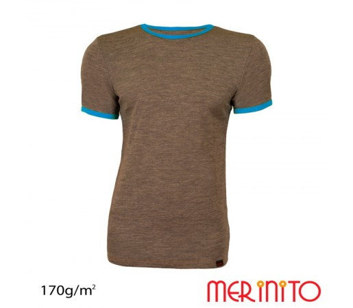 Tricou Barbati Merinito Bej/ Albastru