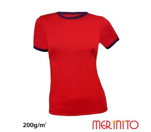 Tricou Dama Merinito Rosu/ Violet