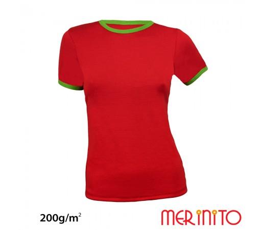 Tricou Dama Merinito Rosu/ Verde