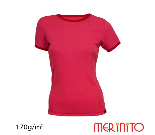 Tricou Dama Merinito Roz/ Rosu