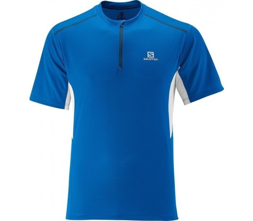 Tricou Salomon Start Zip Tee M Blue