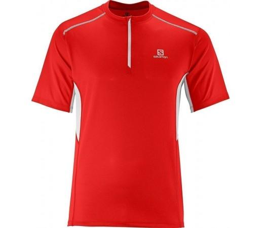 Tricou Salomon Start Zip Tee M Red- White