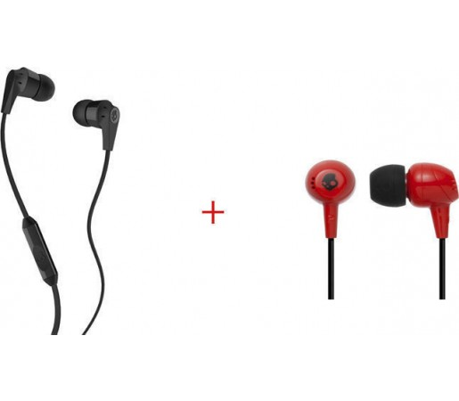 Casti audio Skullcandy Pachet Riot In-Ear Black + Jib Red