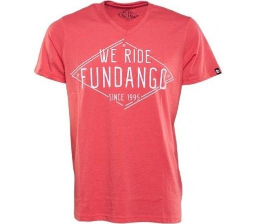 Tricou Fundango V-Neck T Logo 4 Rosu