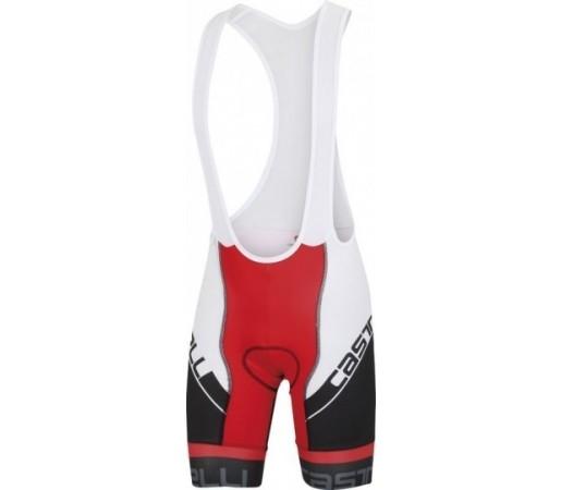 Pantaloni ciclism cu bretele Castelli Volo Bib Short Negru/ Alb/ Rosu