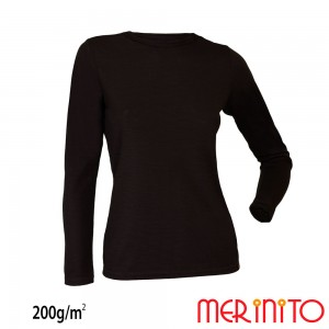 Bluza First Layer Dama Merinito 200g/mp Neagra
