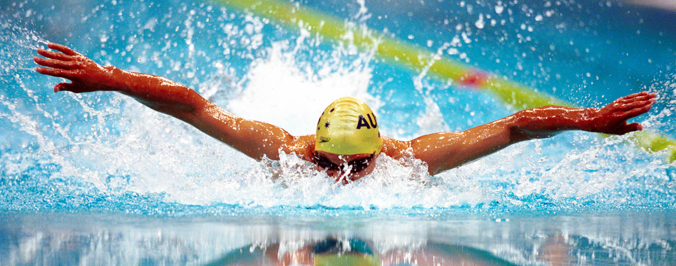 © Sport the library/Tom Putt Sydney 2000 Paralympic Games Swimming Day 3, October 21st. Action shot of Daniel Bell (AUS) in the pool (butterfly) showing reflections.