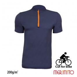 Tricou ciclism Merinito Cut for bike 200g/mp M Bleumarin/Portocaliu