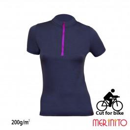 Tricou ciclism Merinito Cut for bike W Bleumarin/Mov 200g/mp