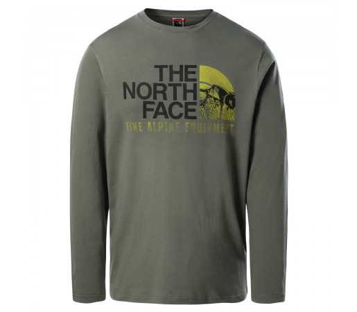 Bluza Casual Barbati The North Face L/S Image Ideals Tee Kaki