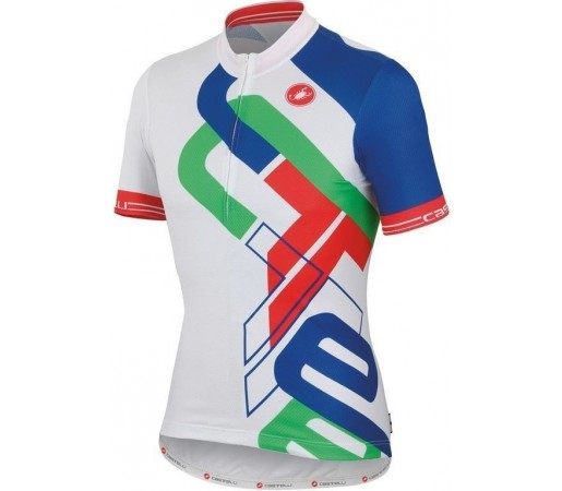Tricou ciclism copii Castelli Frammenti KID Alb/Albastru