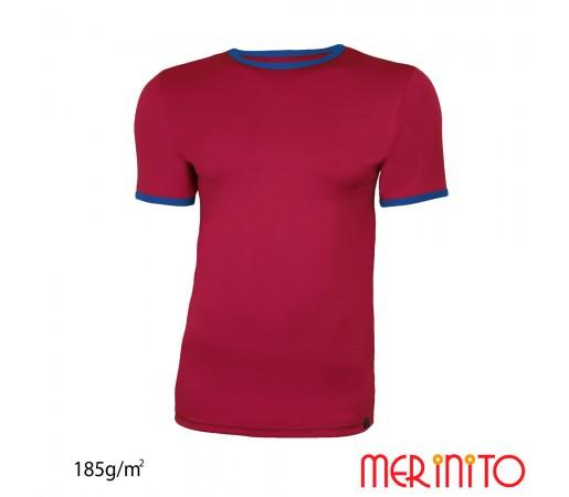 Tricou Merinito Barbati Visiniu/ Albastru