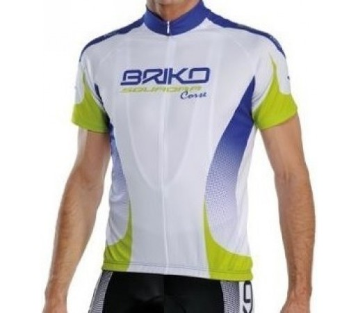 Tricou ciclism Briko Klub Man Briko Team Alb/ Verde/ Albastru
