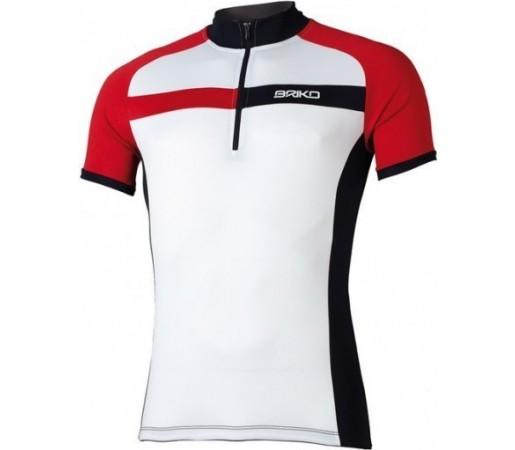Tricou ciclism Briko Sparkling Man Alb/ Rosu/ Negru