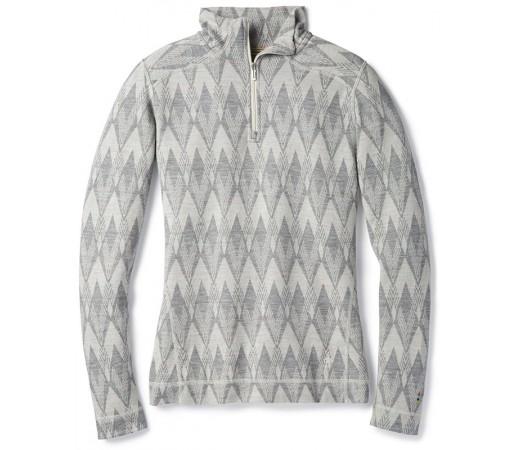 Bluza First Layer Femei Smartwool Merino 250 Pattern 1/4 Zip Gri