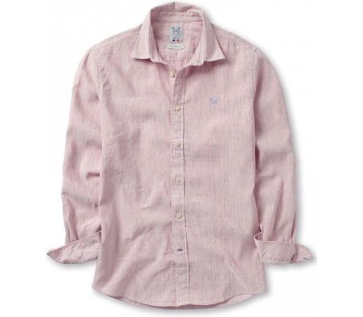 Camasa Crew Clothing Banton Linen Crimson