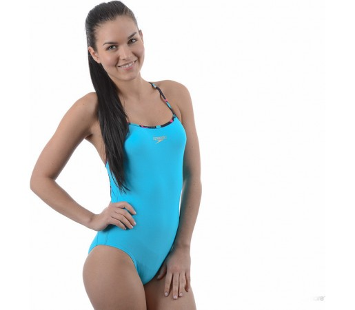 Costum de baie Speedo Woman Rippleback Printed Strap Albastru