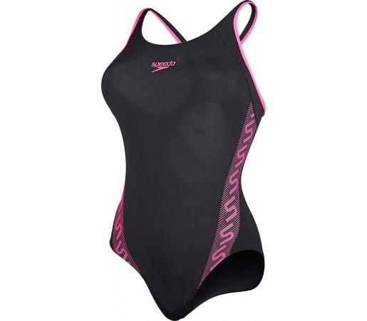 Costum de baie Speedo Woman Monogram Muscleback Negru/Roz